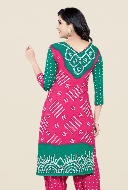 Salwar Studio Pink & Green Bandhani Dress Material