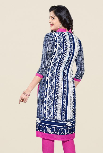 Salwar Studio Blue & Pink Printed Dress Material