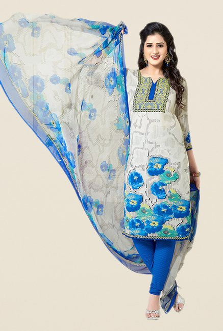 Salwar Studio Beige & Blue Floral Print Dress Material