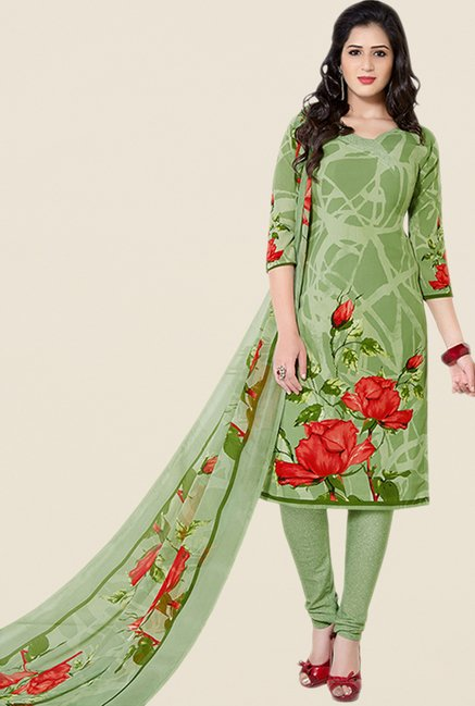 Salwar Studio Green Floral Print Dress Material