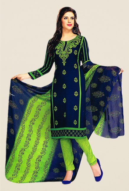 Salwar Studio Navy & Green Printed Dress Material