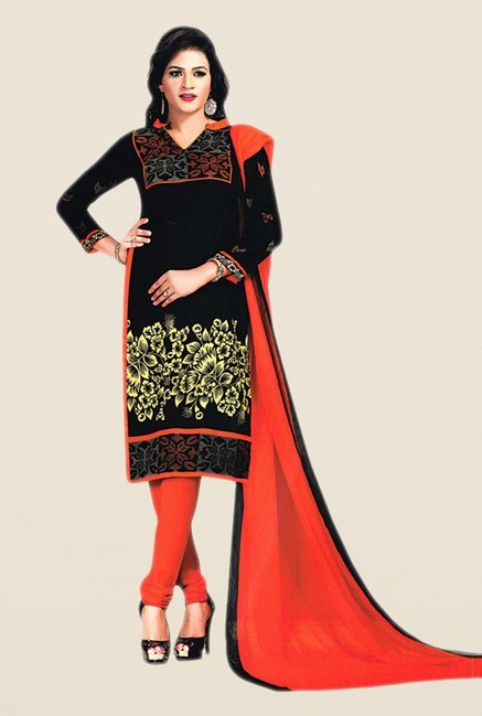 Salwar Studio Black & Orange Floral Print Dress Material