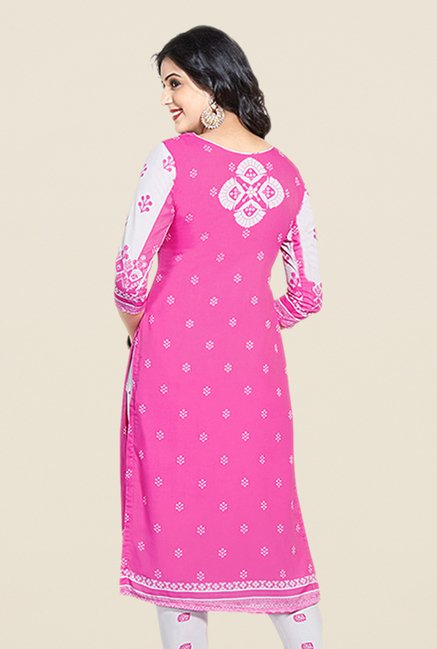 Salwar Studio Pink & White Printed Dress Material