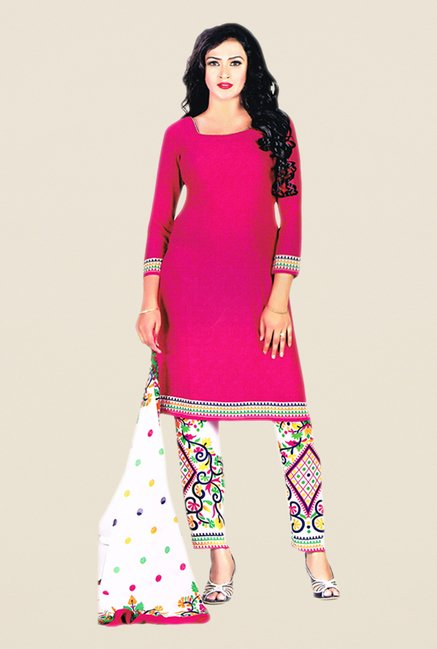 Salwar Studio Pink & Beige Printed Dress Material