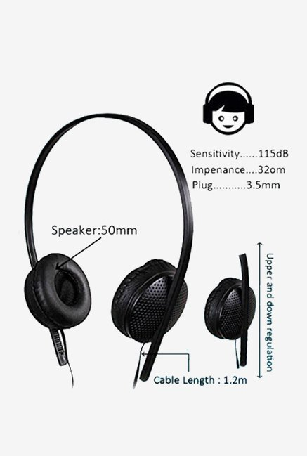 KolorEdge 4353 Stereo Sound On The Ear Headphone (Black)