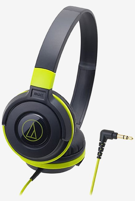 Audio Technica ATH-S100BBL Street Monitoring  On Ear Headphones, Black & Green