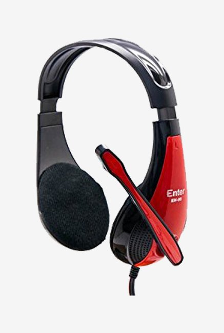 Enter EH-95 Wired Headphone With Mic (Black and Red)