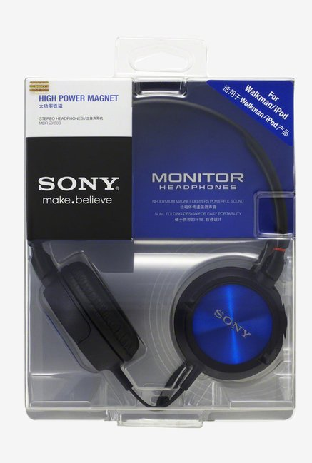 Sony MDR-ZX300/LQE On the Ear Headphone (Blue)