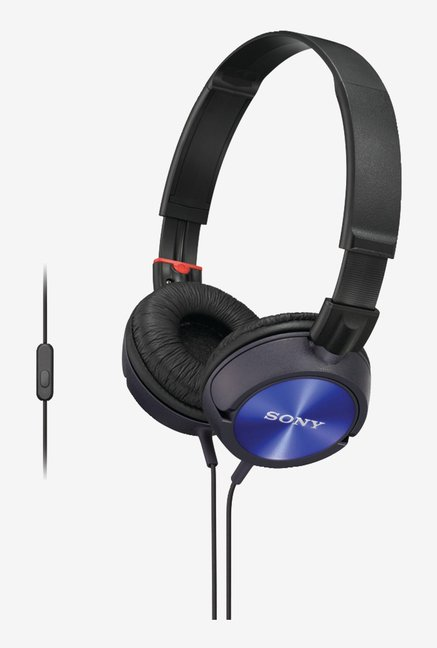 Sony MDR-ZX300AP Sound Monitoring Headphones (Blue)