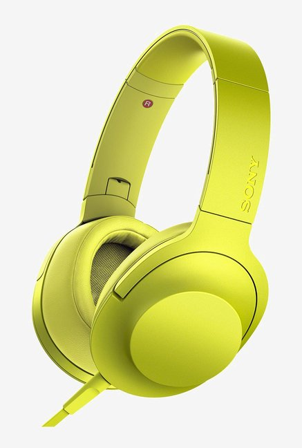 Sony MDR-100AAP On-Ear Audio Headphones With Mic-Lime Yellow