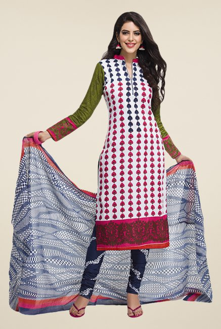 Salwar Studio Off White & Pink Floral Print Dress Material