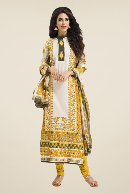 Salwar Studio Yellow & Off White Floral Print Dress Material