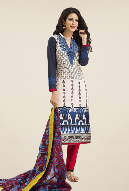 Salwar Studio Cream & Blue Printed Dress Material