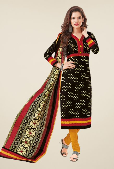 Salwar Studio Black & Yellow Printed Dress Material