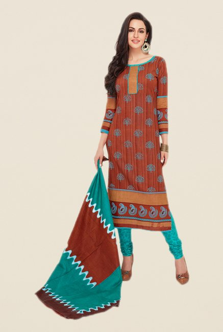 Salwar Studio Brown & Turquoise Printed Dress Material