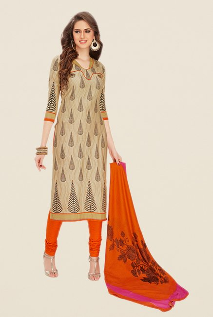 Salwar Studio Beige & Orange Printed Dress Material