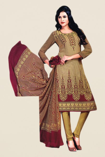 Salwar Studio Gold Printed Dress Material