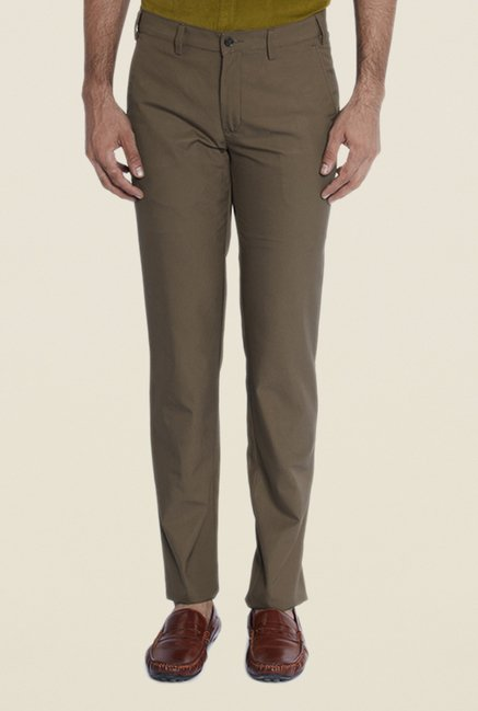 Park Avenue Brown Cotton Flat Front Trouser