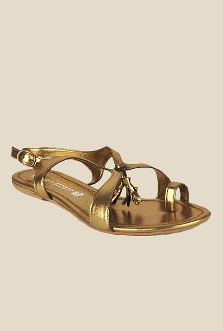 Salt 'n' Pepper Avril Golden Back Strap Sandals