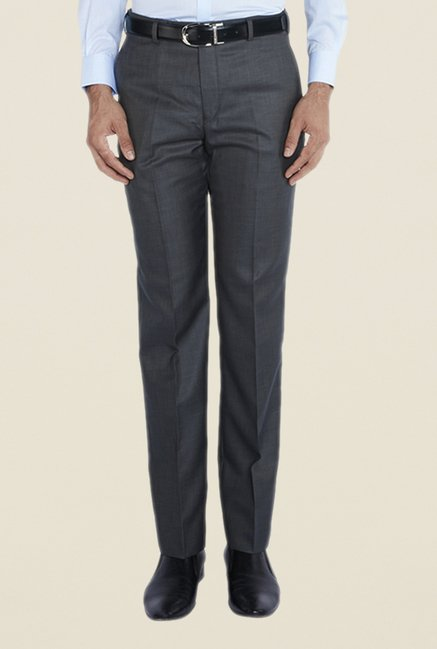 Park Avenue Grey Solid Blend Trouser