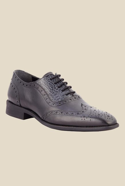 Salt 'n' Pepper Figo Black Brogue Shoes