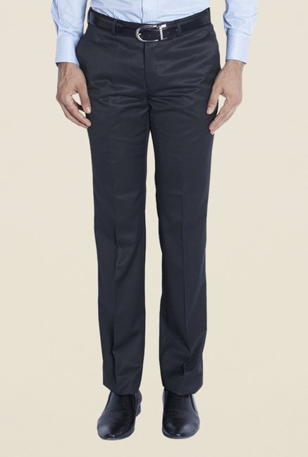 Raymond Navy Solid Flat Front Trouser