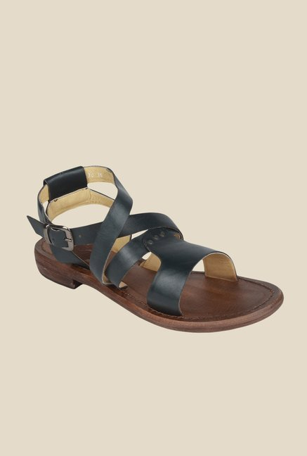 Salt 'n' Pepper Zed Black Cross Strap Sandals