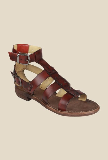 Salt 'n' Pepper Zed Maroon Ankle Strap Sandals