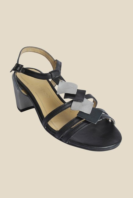 Salt 'n' Pepper Wendy Black & Grey Ankle Strap Sandals