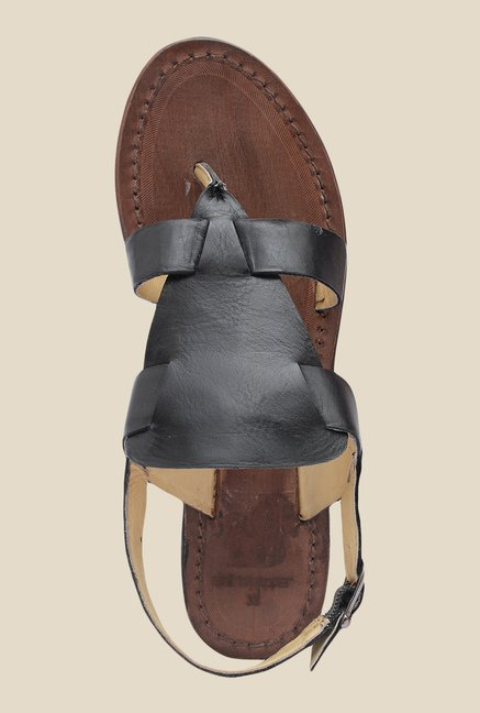 Salt 'n' Pepper Zed Black Back Strap Sandals