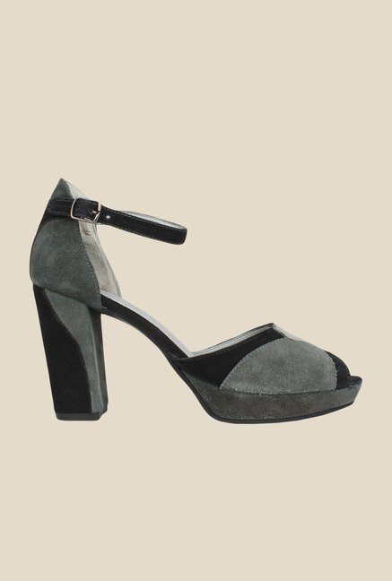 Salt 'n' Pepper Meagan Grey & Black Ankle Strap Sandals