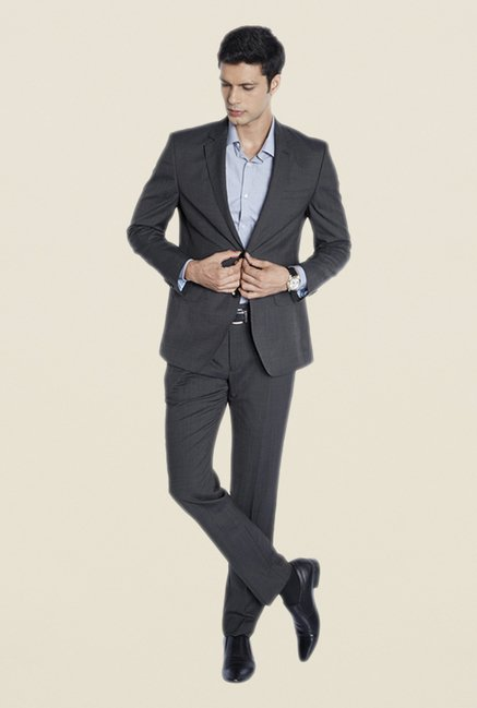 Park Avenue Grey Solid Suit Set