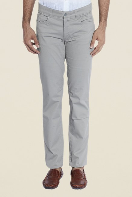 Park Avenue Light Grey Solid Trousers
