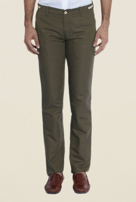 Park Avenue Olive Solid Trousers