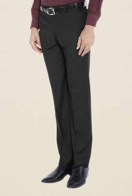 Park Avenue Black Solid Flat Front Trouser
