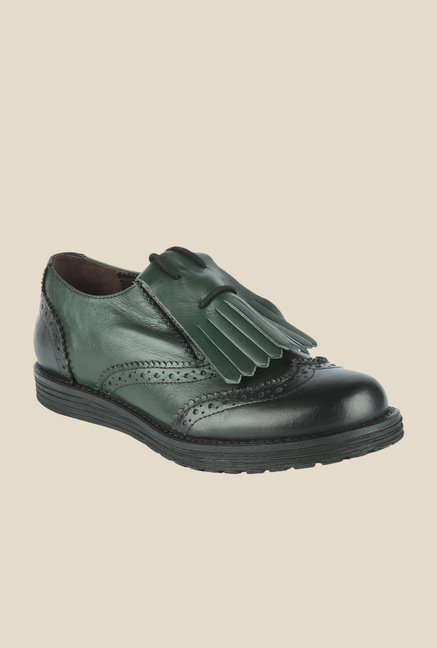 Salt 'n' Pepper Cica Green & Black Brogue Shoes