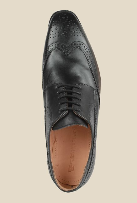 Salt 'n' Pepper Arman Black Brogue Shoes