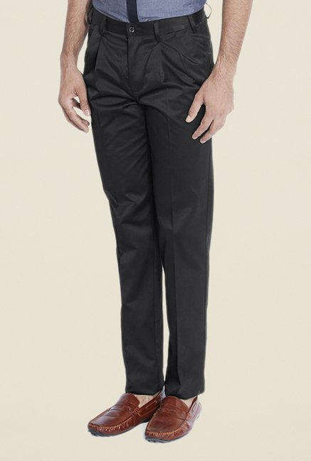 Park Avenue Black Solid Pleated Trouser