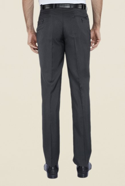 Park Avenue Grey Solid Mid Rise Flat Front Trouser