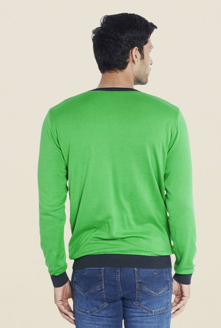 Parx Green Solid Cotton T Shirt