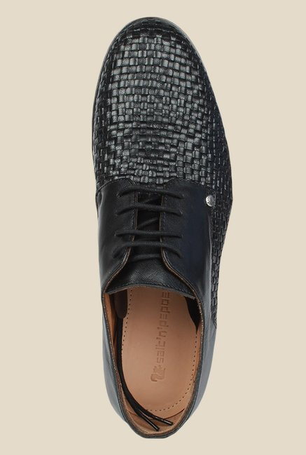 Salt 'n' Pepper Mix Black Derby Shoes