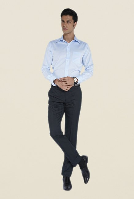 Park Avenue Navy Solid Mid Rise Flat Front Trouser