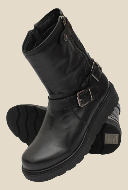 Salt 'n' Pepper Denia Black Biker Boots