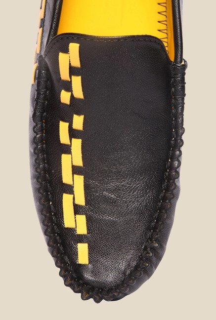 DaMochi Alex Black & Yellow Loafers