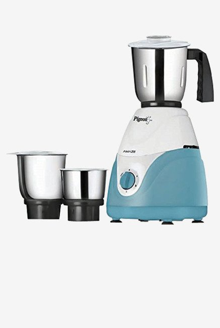 Pigeon Amaze 550-Watt Mixer Grinder with 3 Jars (White)