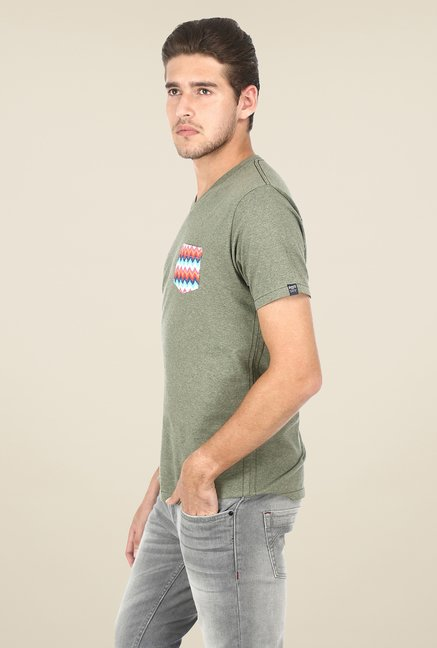 Basics Olive Solid T-shirt