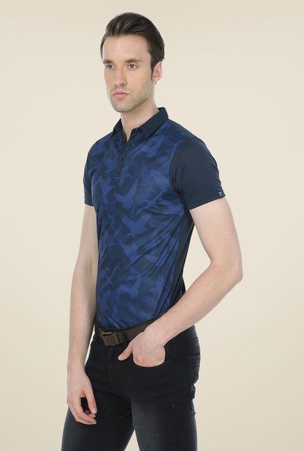 Basics Navy Printed Polo T-shirt
