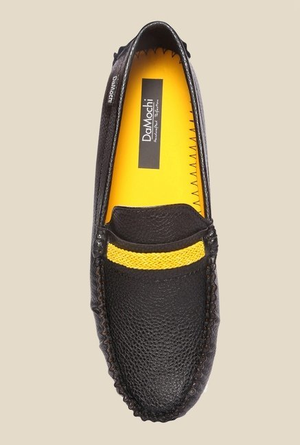 DaMochi Cesar Black & Yellow Loafers