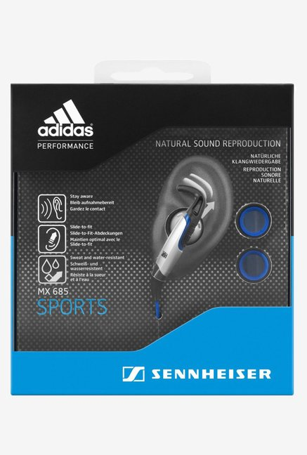 Sennhesier MX685 SPORTS In-Ear Headphones - Blue & Silver