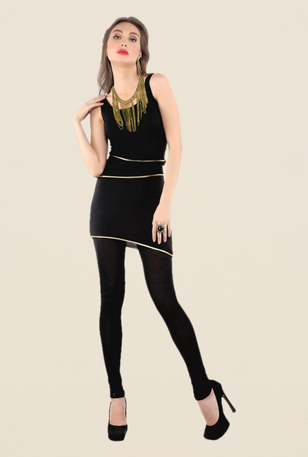 Ira Soleil Black Solid Tunic